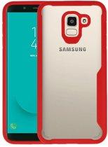 Focus Transparant Hard Cases Samsung Galaxy J6 Rood