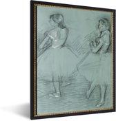 Foto in lijst - Two dancers - Schilderij van Edgar Degas fotolijst zwart 30x40 cm - Poster in lijst (Wanddecoratie woonkamer / slaapkamer)