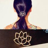 Haarclip Gouden Lotusbloem- Leuke styling Haarschuifje - haarspeld - Haarschuif - Metaal Haar Accessoire Clip - 1 stuks Bloem