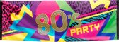 Stoffen banier 80's Party 74 x 220 cm - Feestdecoratievoorwerp