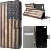 Usa vlag print wallet case hoesje Huawei G Play Mini