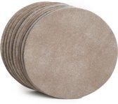Tannery Leather Onderzetters Excellent Leer 6 stuks Zandkleur - Rond