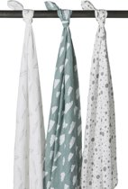 Meyco 3-pack hydrofiele swaddles Feathers-Clouds-Dots stone green/wit 120 x 120 cm