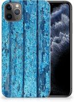 iPhone 11 Pro Max Bumper Hoesje Blauw Wood