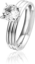 Montebello Ring Selenia - Dames - 316L Staal - Zirkonia - Verloven - ∅7 mm - maat 54 - 17.2