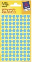 50x Avery Ronde etiketten diameter 8mm, blauw, 416 stuks