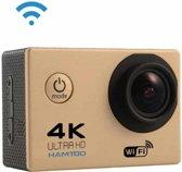 HAMTOD H9A HD 4K WiFi Sportcamera met onderwaterbehuizing, Generalplus 4247, 2,0 inch LCD-scherm, 120 graden groothoeklens (goud)