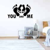 Muursticker You And Me -  Zilver -  80 x 44 cm  - Muursticker4Sale