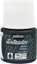 Pébéo Setacolor Glitter Zwarte Textielverf - 45ml textielverf voor lichte stoffen