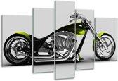 Glasschilderij Motor | Grijs, Zwart, Groen | 170x100cm 5Luik | Foto print op Glas |  F002045