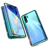 Magnetische case met voor - achterkant gehard glas voor de Huawei P30 PRO - Groen