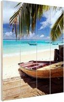 Vissersboot op de Caraiben Hout 20x30 cm - klein - Foto print op Hout (Wanddecoratie)