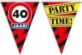 40 jaar vlaggenlijn waarschuwingsbord 10mtr - verjaardag slingers