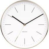 Wall clock Minimal white, shiny gold case