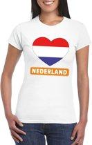 Nederland hart vlag t-shirt wit dames L