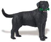 Plastic zwarte Labrador speelgoed hond 9 cm