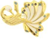 Behave® Broche pauw goud kleur met steentjes 5 cm