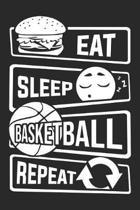 Eat Sleep Basketball Repeat: Blank Dot Grid Notebook for People who like Humor Sarcasm