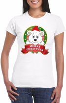 Foute Kerst shirt voor dames - ijsbeer - Merry Christmas S