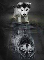 Diamond Painting pakket Wolven Welpje naar Volwassen Wolf - FULL - Diamond Paintings - 30x20cm -  SEOS Shop ®