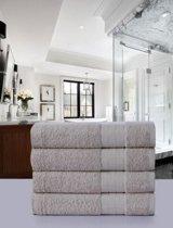 Luxe Katoen Handdoek Taupe | 50x100 | Set van 4 | Met Een Geweven Bies