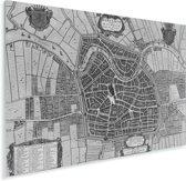 Zwart witte en historische stadskaart van Haarlem Plexiglas - Plattegrond 80x60 cm - Foto print op Glas (Plexiglas wanddecoratie)