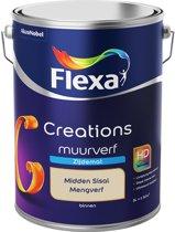 Flexa Creations - Muurverf Zijde Mat - Mengkleuren Collectie - Midden Sisal  - 5 liter