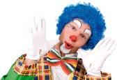 Pruik krullen clown blauw