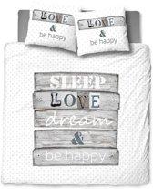Snoozing Be Happy - Dekbedovertrek - Eenpersoons - 140x200/220 cm + 1 kussensloop 60x70 cm - Grijs