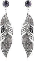 Charme Bijoux® Lange zwarte veren oorbellen- 7 cm-