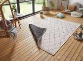 Design binnen & buiten vloerkleed ruiten Daisy - zwart/crème 160x230 cm