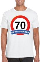 70 jaar and still looking good t-shirt wit - heren - verjaardag shirts 2XL