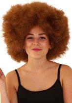 Afro pruik bruin disco - one size - festival disco carnaval