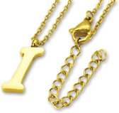 Amanto Ketting I Gold - Unisex - 316L Staal Goudkleurig PVD - Letter - 17 x 5 - 50 cm