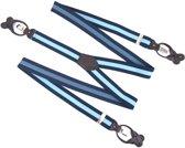 Luxe Bretels - Met Clips en Leren Patten - Knoopsluiting - Donkerblauw Lichtblauw - Y Vorm - 35 mm