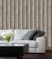 Dutch Wallcoverings Schuimvinylbehang hout - grijs