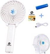 Dapoda® Oplaadbare Mini Ventilator met USB Kabel – Handventilator – Draagbaar – Wit
