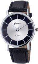 Hidzo Horloge Geneve Quartz ø 37 mm - Zwart - In horlogedoosje