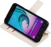 Wit Samsung Galaxy J3 TPU wallet case booktype hoesje HM Book