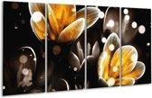 Glasschilderij Bloem   Geel, Zwart   160x80cm 4Luik   Foto print op Glas    F005048