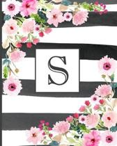 S: Pretty Monogram Initial Letter S Lined Notebook for Women or Girls to Write In - Black & White Stripes with Floral Des