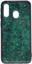 Shop4 - Samsung Galaxy A40 Hoesje - Zachte Back Case Mineralen Groen