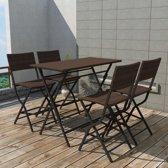 5-delige Tuinset inklapbaar staal poly rattan bruin (incl. Fleecedeken)