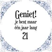 Bol Com Verjaardag Tegeltje Met Spreuk 21 Jaar Keep Calm You Re
