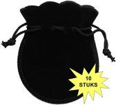 Fako Bijoux® - Cadeau Zakjes Mini - Velours - 6.5x7.5cm - Zwart - 10 Stuks