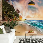 Fotobehang Tropical Beach Sunset | V8 - 368cm x 254cm | 130gr/m2 Vlies