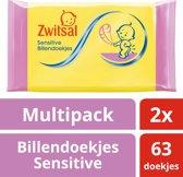 Zwitsal Billendoekjes Sensitive - 2 x 63 stuks - Baby - Voordeelverpakking