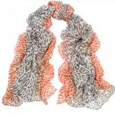 Sjaal beige - bruin - oranje met luipaardprint