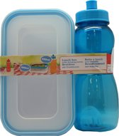 Lunchbox met drinkfles 500ml blauw - broodtrommel