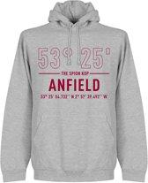 Liverpool Anfield Road Coördinaten Hoodie - Grijs - M